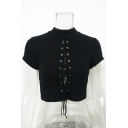 Hollow Out Lace Up Front Plain High Neck Short Sleeve Crop Tee