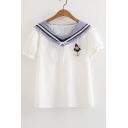 Color Block Striped Navy Collar Anchor Brooch Embellished Short Sleeve Tee