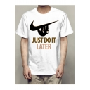 JUST DO IT LATER Letter Animal Printed Round Neck Short Sleeve Tee