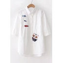 Cat Fish Embroidered Lapel Collar Half Sleeve Buttons Down Shirt