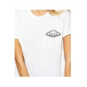 UFO Printed Round Neck Short Sleeve Leisure Tee