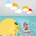 Acrylic Moon Shade Ceiling Fixture Amusement Park LED Flush Mount Lighting in Blue/Yellow/Red
