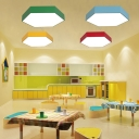 Creative Hexagon Hanging Lamp Colorful Simple Nursing Room Hallway Acrylic Suspension Light