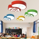 Acrylic LED Flushmount with Octopus Modern Cartoon Blue/Green/Yellow/Red Ceiling Fixture for Kids Children