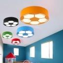 Sport Theme Football Flushmount Colorful Acrylic LED Ceiling Fixture for Boys Bedroom