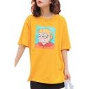 Cartoon Character Printed Round Neck Short Sleeve Leisure Loose Tee