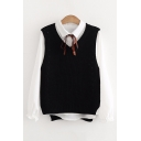 Two Pieces V Neck Sleeveless Vest Sweater with Lapel Collar Long Sleeve Buttons Down Plain Shirt