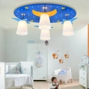 Stars Moon LED Flush Light Kids Bedroom 4 Light Ceiling Lamp with White Glass Cone Shade