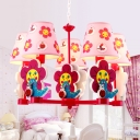 Red Finish Flower Design Hanging Chandelier Fabric Shade 5 Lights Suspension Light for Girls Bedroom