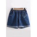 Elastic Waist Roll Cuff Loose Cat Embroidered Denim Shorts