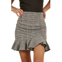 Plaid Printed High Waist Ruffle Detail Mini Asymmetric Skirt