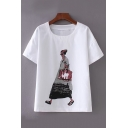 Round Neck Character Printed Short Sleeve Tee