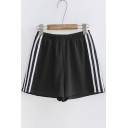 Leisure Contrast Striped Elastic Waist Loose Sports Shorts