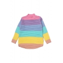 Color Block High Neck Long Sleeve Sweater