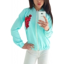 Floral Embroidered Stand Up Collar Long Sleeve Zip Up Coat