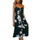 Floral Printed Buttons Down Spaghetti Straps Sleeveless Maxi A-Line Dress