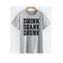 DRINK DRANK Letter Printed Round Neck Short Sleeve Tee