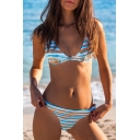 Holiday Striped Printed Spaghetti Straps Sleeveless Bikini