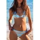 Holiday Striped Printed Spaghetti Straps Sleeveless Bikini
