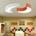 Orange/White Moon LED Ceiling Fixture Acrylic Decorative Lighting Fixture for Girls Boys Room