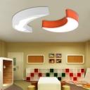Orange/White Moon LED Ceiling Fixture Acrylic Decorative Lighting Fixture for Girls Boys Room