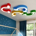Acrylic Rainbow Flush Light Fixture Modern Chic Kindergarten LED Ceiling Lamp in Warm/White/Third Gear