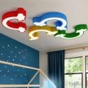 Acrylic Rainbow Flush Light Fixture Modern Chic Kindergarten LED Ceiling Lamp in Warm/White/Third Gear