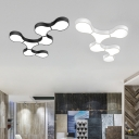 Black/White Geometric Ceiling Lamp Concise Acrylic LED Flush Mount Lighting for Kid's Classroom