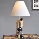 Resin Bear Standing Table Light with White Fabric Shade Baby Kids Room 1 Light Decorative Table Lamp