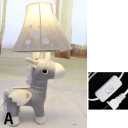 Bell 1 Light Table Lamp with Unicorn Gray/White/Red Fabric Shade LED Standing Table Light for Children