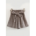 Elastic Waist Plaid Printed Bow Tied Front Loose Shorts
