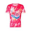 ENJOY SUMMER Letter Flamingo Printed Round Neck Short Sleeve Tee