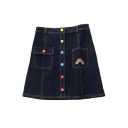 Colorful Buttons Down Rainbow Embroidered Mini A-Line Denim Skirt