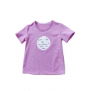 FLYING CAT Letter Printed Round Neck Short Sleeve Graphic Tee