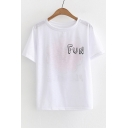 FUN Letter Floral Printed Round Neck Short Sleeve Tee