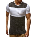 Color Block Camouflage Printed Round Neck Short Sleeve Tee