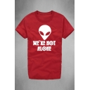 Alien WE ARE NOT ALONE Letter Printed Round Neck Short Sleeve Tee