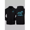 Horse Printed Long Sleeve Zip Up Hoodie