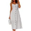 Striped Printed Spaghetti Straps Sleeveless Buttons Down Maxi A-line Dress