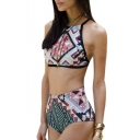 Geometric Printed Sleeveless Hollow Out Back High Waist Bottom Bikini