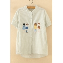 Cartoon Girl Embroidered Buttons Down Stand Up Collar Striped Short Sleeve Shirt