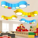 Cute Caterpillar Shape LED Ceiling Light Blue/Yellow Acrylic Lighting Fixture for Amusement Park