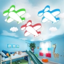 Cartoon Aircraft LED Flushmount Blue/Green/Red Acrylic Lighting Fixture for Children Room