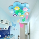 Adorable Wooden Flower Flush Light with Hanging Butterfly Girls Room 7 Lights Ceiling Lamp in Blue