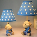 Fabric Starry Shade Reading Light with Cute Monkey Decoration Baby Kids Room 1 Bulb Table Lamp in White