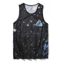 Bird Floral Universe Printed Round Neck Sleeveless Tank