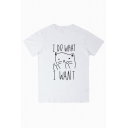 I DO WHAT I WANT Letter Cat Printed Round Neck Short Sleeve Tee