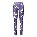 Christmas Series Unicorn Feather Printed Elastic Waist Skinny Leggings