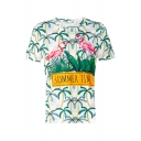 Coconut Tree Flamingo Letter Printed Round Neck Short Sleeve Tee