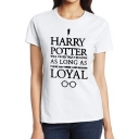 HARRY Letter Glasses Printed Round Neck Short Sleeve Tee